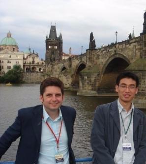 Joe Keddie and Tao Wang in Prague at a colloids meeting