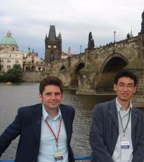 Joe Keddie and Tao Wang in Prague at a colloids meeting
